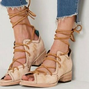 Freebird PEACE Natural Leather Lace Up Sandals